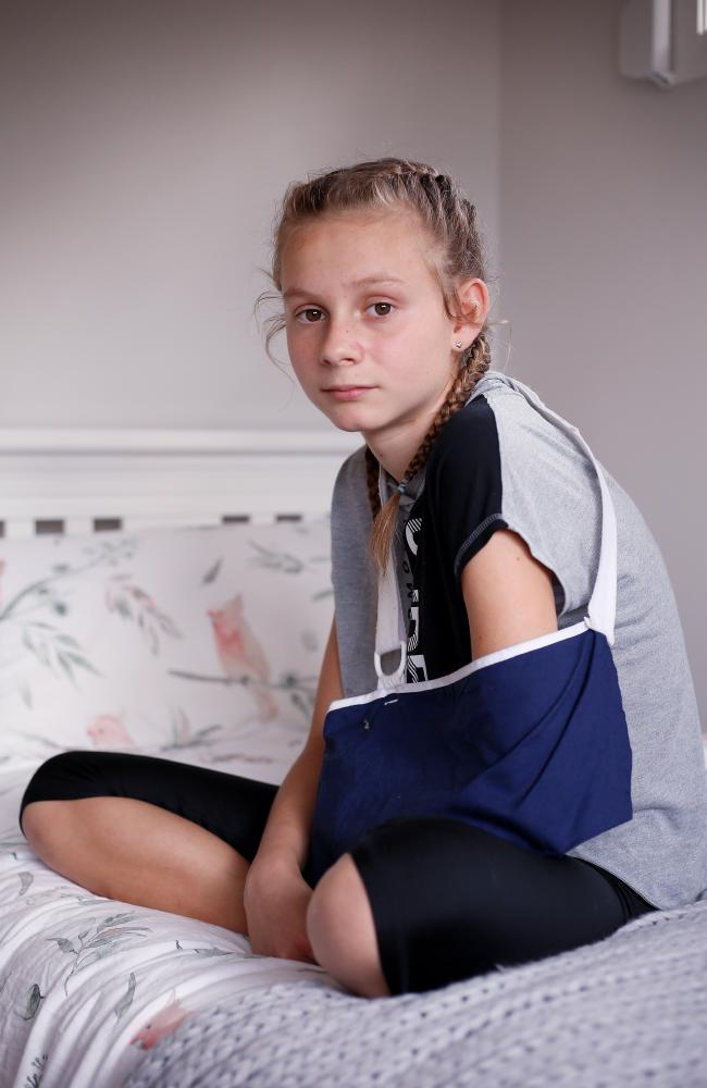 Harriet Davis, 12, asked her father if she would die after her left hand was ripped off while boating on the Nepean River in Sydney's northwest. Picture: Sam Ruttyn