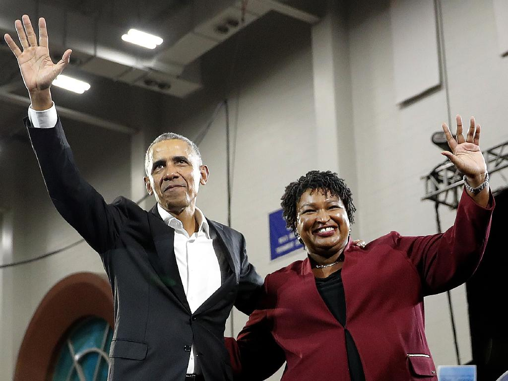 Former President Barack Obama and Democratic candidate for Georgia Governor Stacey Abrams on the hustings. Picture: AP/John Bazemore