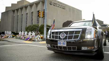 'The Beast' parked outside the Tree of Life Synagogue near a memorial for the victims in Pittsburgh last month.