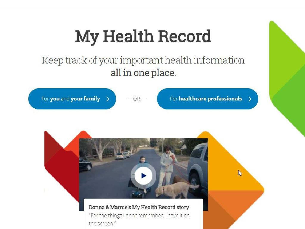 Screen grabs from the My Health Record government website. Picture: Supplied