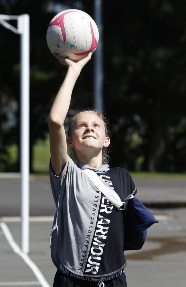 Harriet wasted no time getting back on the netball court. Picture: AAP Image/Quentin Jones