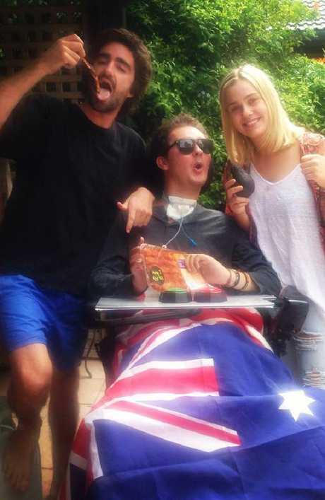 Sam Ballard, with sister Mel and friend, Matt. Picture: Facebook