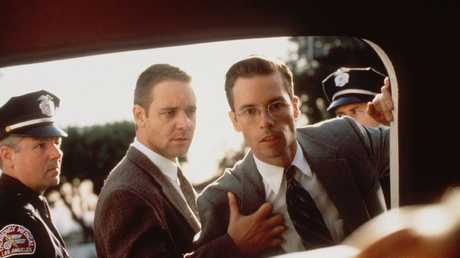 Russell Crowe with Guy Pearce in a scene from L.A. Confidential. Picture: Supplied