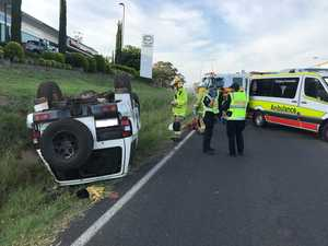 Teen trapped after Warwick rollover
