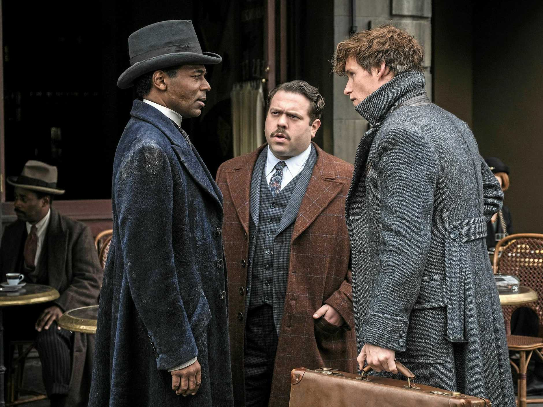 William Nadylam, Dan Fogler and Eddie Redmayne in a scene from the movie Fantastic Beasts: The Crimes of Grindelwald. Supplied by Warner Bros.