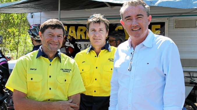 KEEP PEDALLING: Kevin Hogan MP with Darryl Pursey (far left).