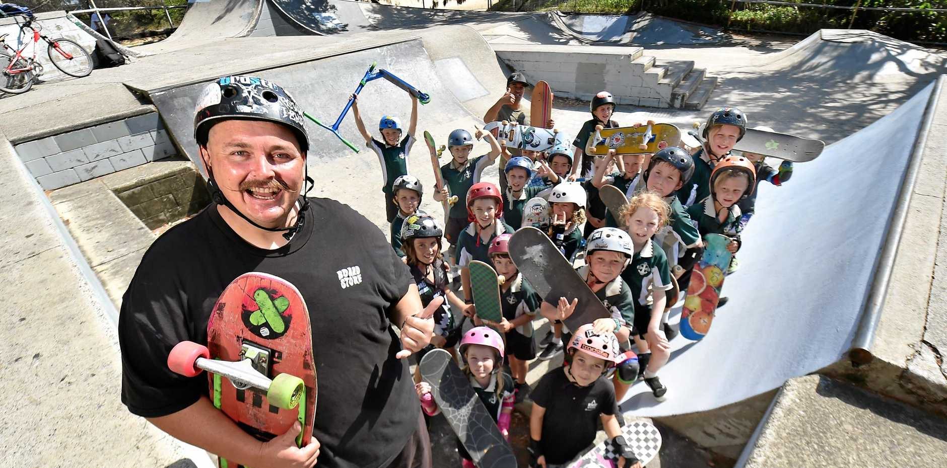 ICONIC: Dave Fisher has been coming to Dicky Beach Skate Park since the early '90s and he says the park needs upgrading, amidst fears council want to relocate it.