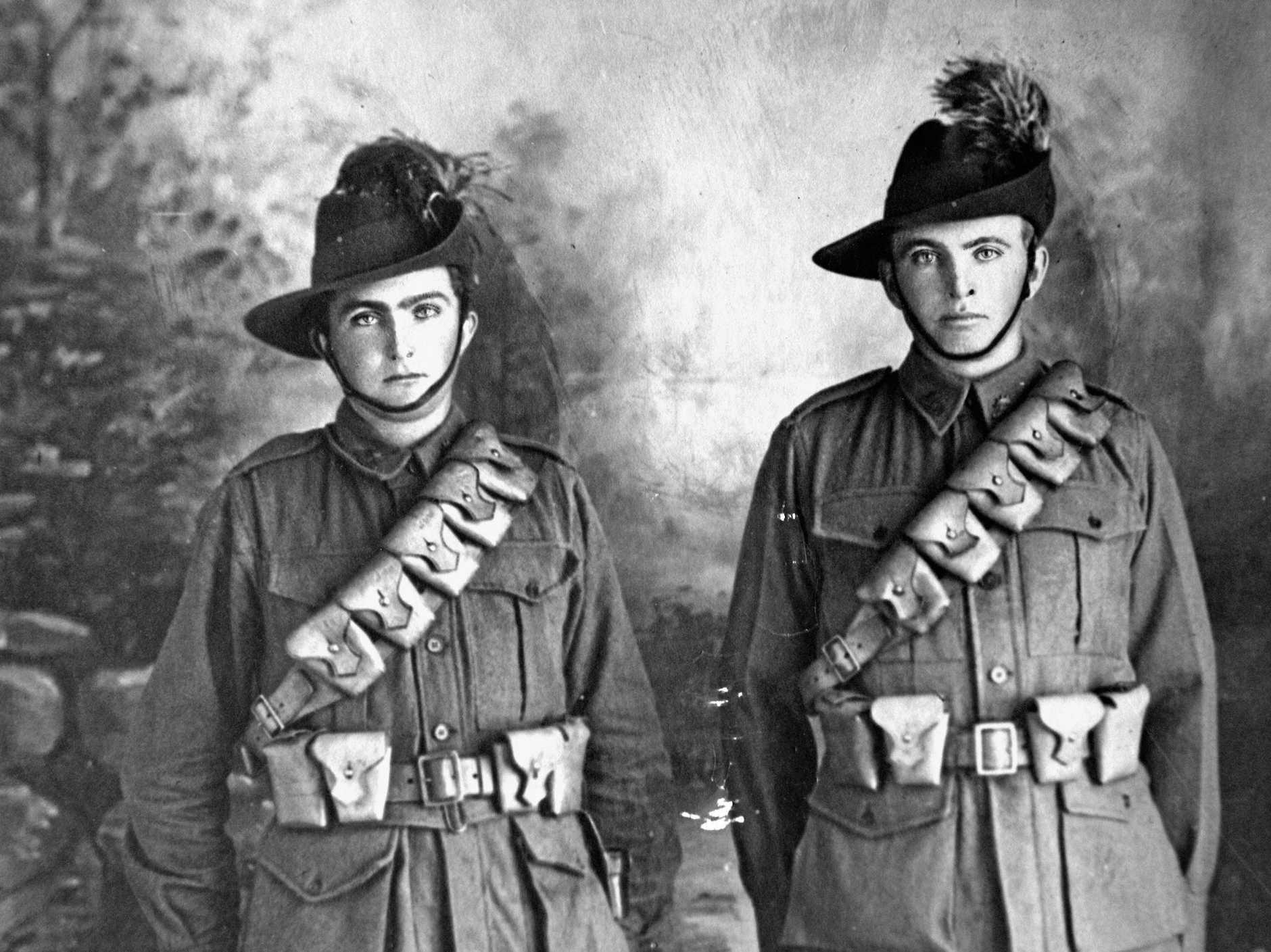 MacleanLight Horseman, Merton and Harold Farlow in uniform. Photo Courtesy Joyce Watson - Farlow Family Album