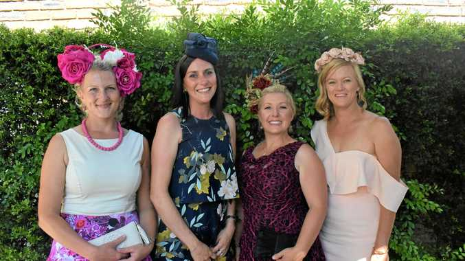 Aja O'Leary, Jenna Meyer, Anthea Howe and Amanda Taylor all smiles at the Melbourne Cup viewing at the Club Hotel on November 6.