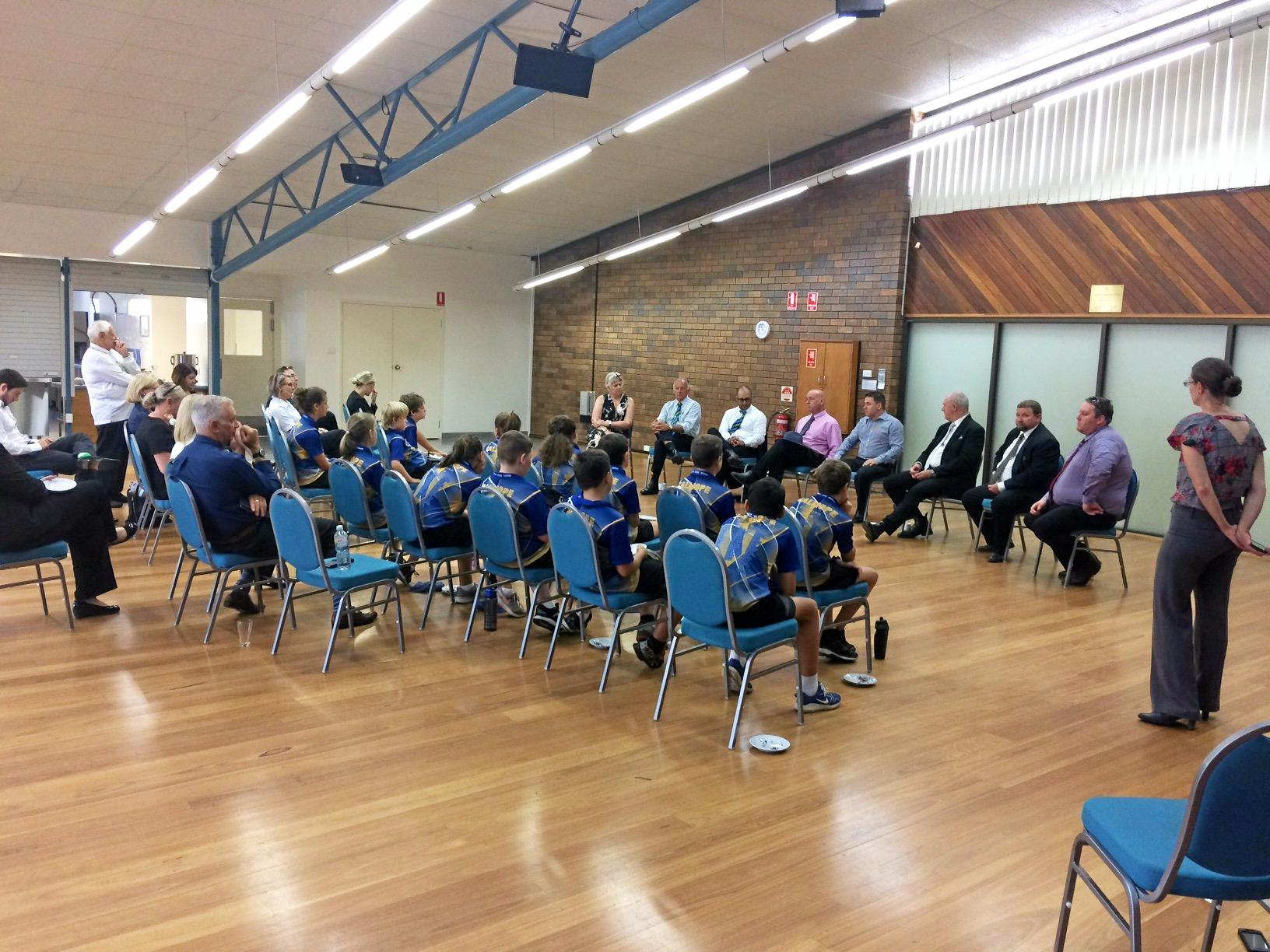 Gladstone Region councillors take questions from Year 6 students from Calliope State School at the Calliope Library.