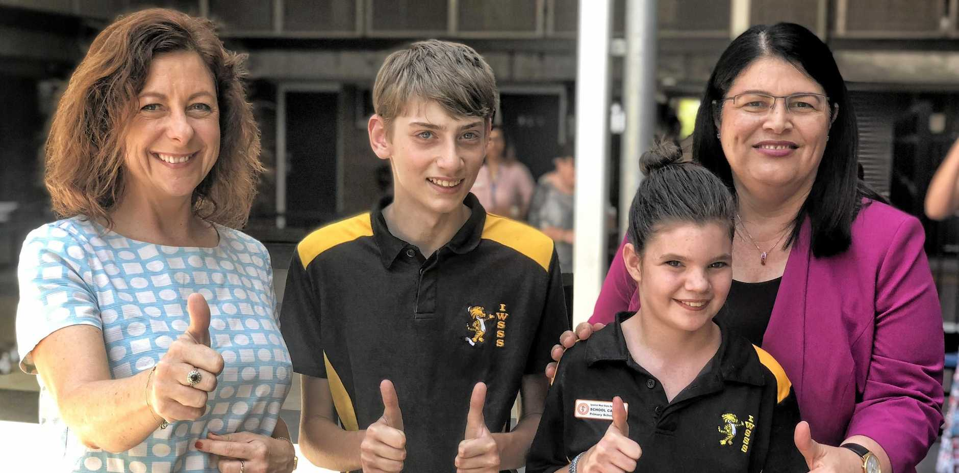 CONSTRUCTION: Ipswich MP Jennifer Howard, junior school captains Axel and Alana and Education Minister Grace Grace at the opening of Ipswich West Special Schools administration block.