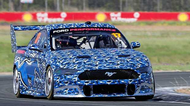 TERRIFIC TEST: Ford's new-for-2019 Supercars racer receives a workout at Queensland Raceway today.