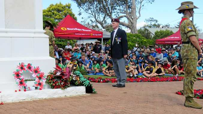 Laying the wreaths at Cooroy's Anzac Day ceremony 2018