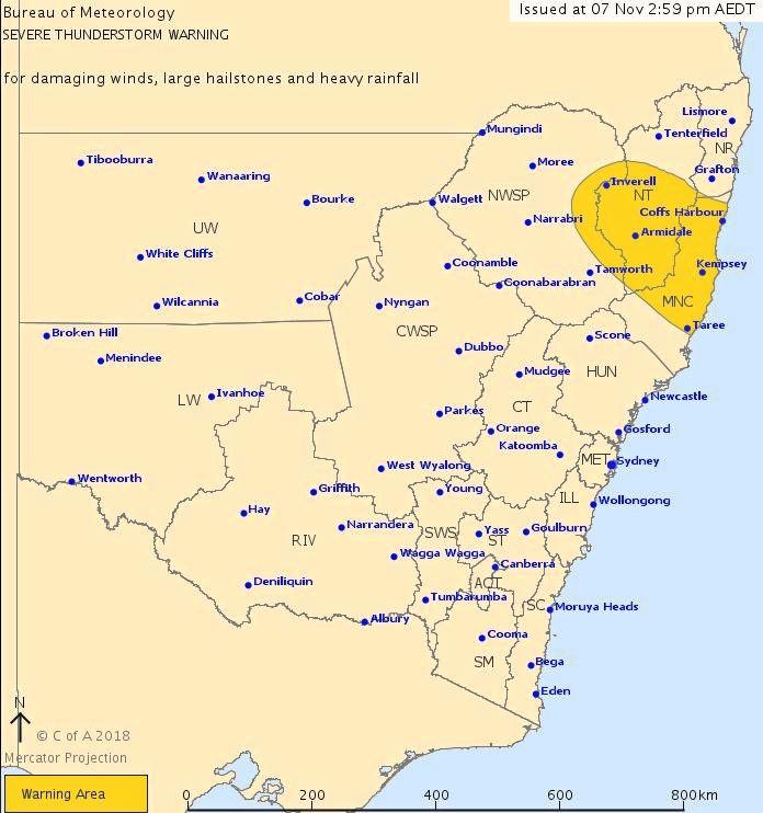 BOM have issued a severe thunderstorm warning for the mid north coast.
