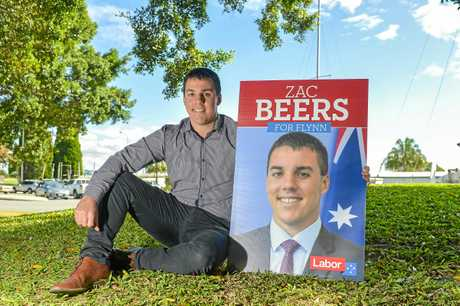 Labor candidate for Flynn Zac Beers poses for photos ahead of his 2018 campaign launch.