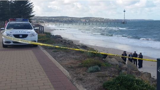 SA Police investigating after a body was found at Hove beach. Picture: Josephine Lim