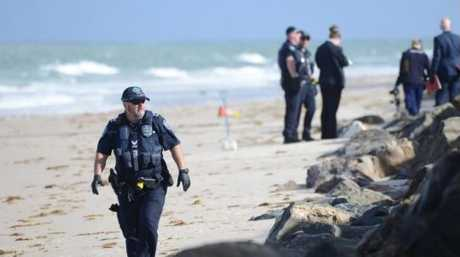 Police at the scene of the discovery. Picture: Brenton Edwards/AAP