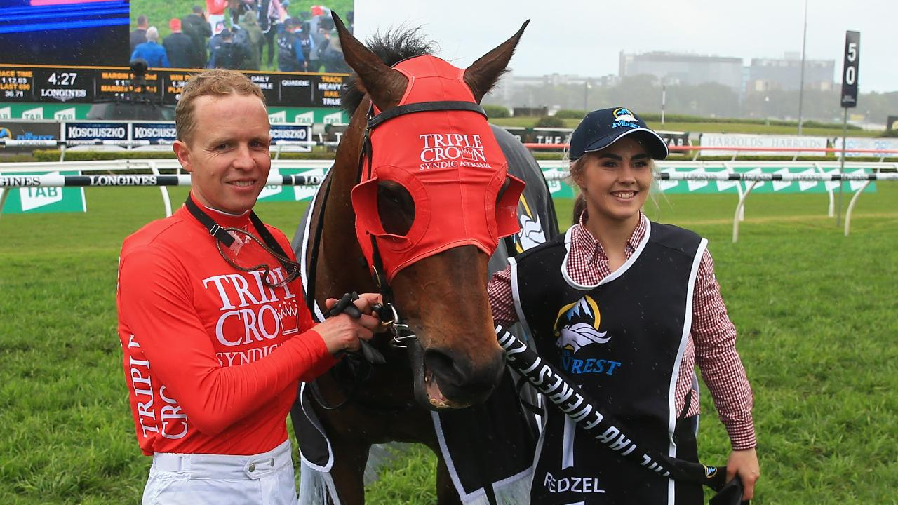 Kerrin McEvoy with strapper Christine Duffy and Redzel after winning The Everest. Pic: Getty Images