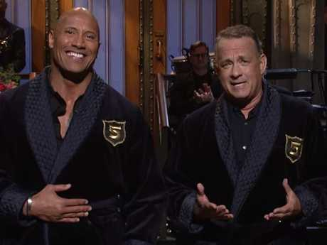 The Rock and Tom Hanks have previously joked about presidential aspirations.  Picture: Saturday Night Live