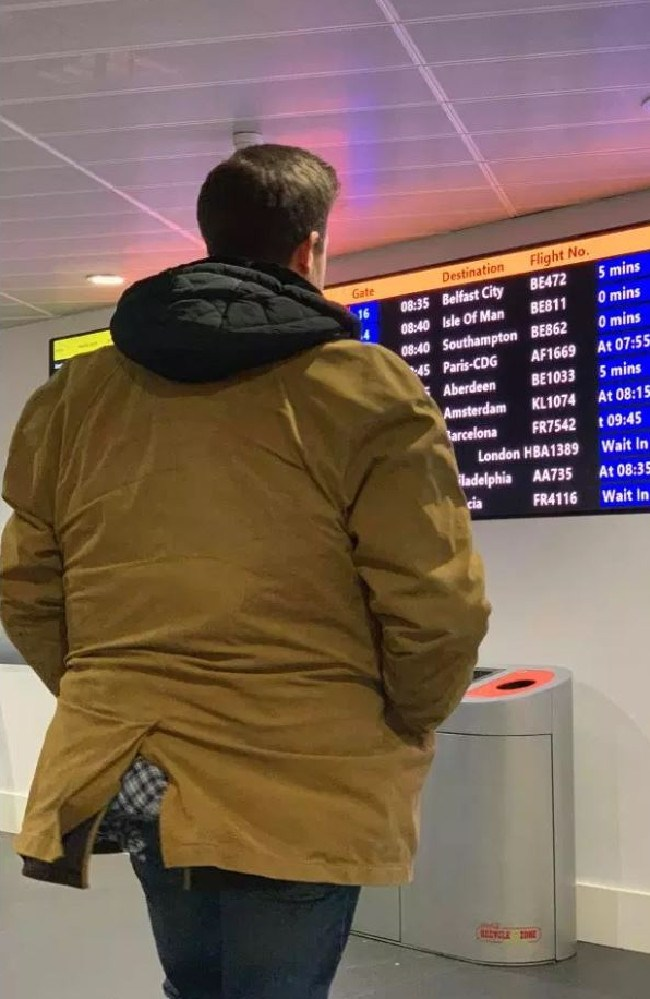 No one batted an eyelid as he made his way through the airport with the full coat. Picture: Lee Cimino