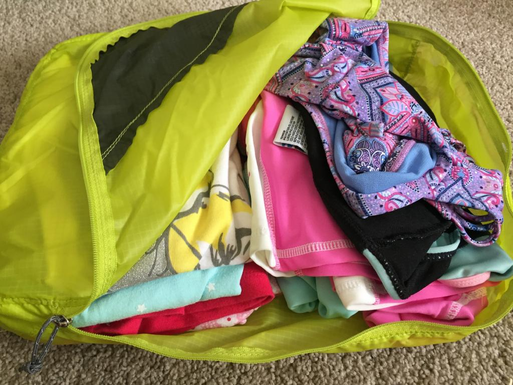 Osprey cells packed and ready to go with the kids' clothes. Picture: Catherine Best