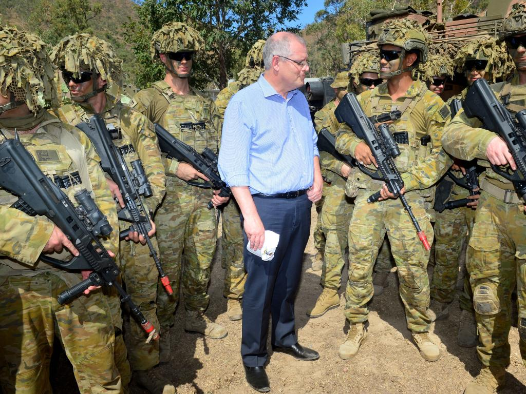 Prime Minister Scott Morrison visits 3RAR soldiers at Lavarack Barracks in September.