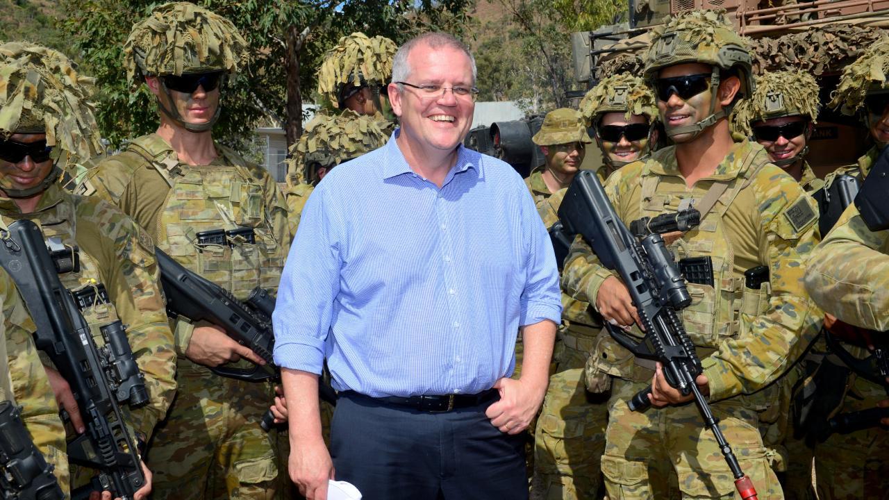 Prime Minister Scott Morrison visits 3RAR soldiers at Lavarack Barracks in September.
