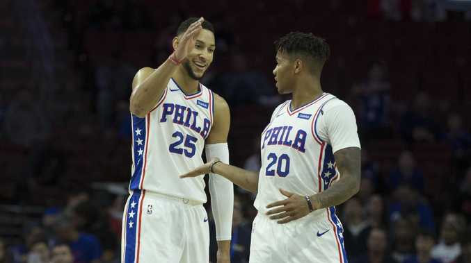 Ben Simmons and Markelle Fultz look happy here but they're struggling to coexist. Picture: Mitchell Leff/Getty Images