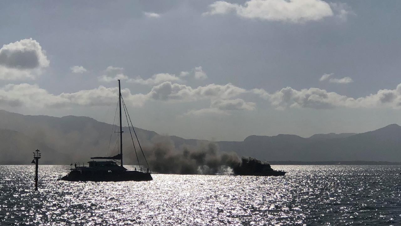 A boat caught fire in the the Cairns Seaway at about 4.15 this afternoon.