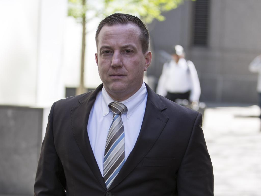 Former NYPD officer James Grant leaves Manhattan Federal Court. Picture: Erik Thomas/NY Post.