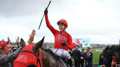 Kerrin McEvoy salutes after riding Redzel to victory in The TAB Everest last month. Pic: Getty Images