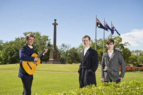 Toowoomba's Webb brothers (from left) Isaac, 17, Peter, 19, and James 16, have recorded a cover version of Silent Night Christmas 1915 which will be launched on Youtube on Sunday to coincide with Remembrance Day, Thursday, November 8, 2018.