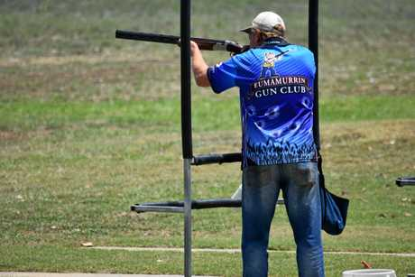 LINE THEM UP: A Eumamurrin Gun Club shooter lines up his perfect shot.