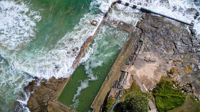 An aerial view of the Yamba ocean pool.