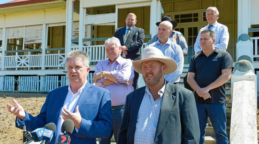 BRIGHT FUTURE: Dan Daly and Leo Neill-Ballantine at the Euroa homestead Aldoga, announcing plans for a $260 million state-of-the-art beef processing plant and renewable energy facility.