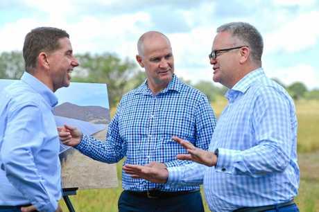 Minister Cameron Dick, Member for Gladstone Glenn Butcher and Acciona managing director Brett Wickham.
