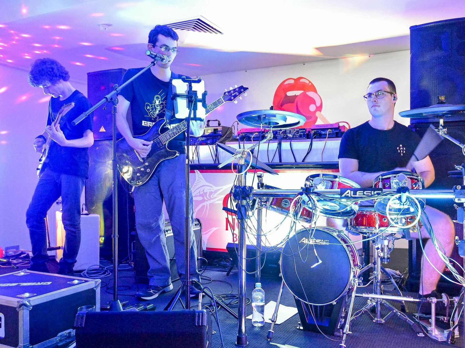 PUB ROCK: Gridlock performing live at Gladstone's Rocky Glen Hotel.