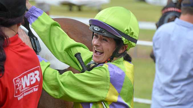 WINNERS ARE GRINNERS: Jockey Kelly Gates was all smiles after winning race one at Mount Perry last year.