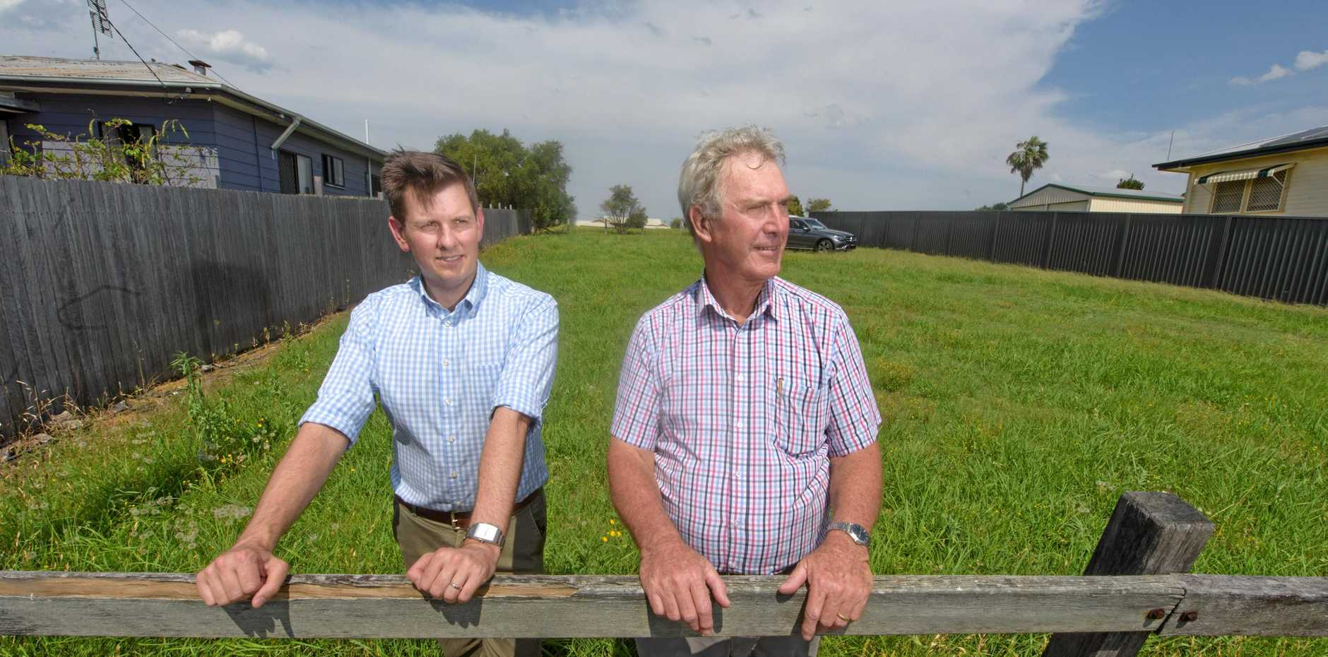 Clarence Village CEO Duncan McKimm and chairman Geoff Shepherd on the land they plans for new housing. They are calling on the government to assist with affordable housing for elderly.