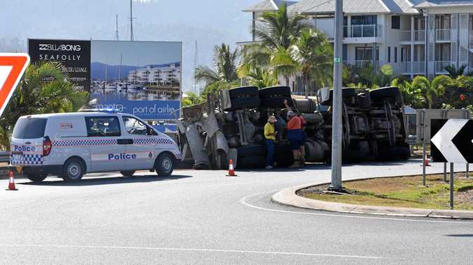 ON THE SCENE: Police were called to a truck rollover in Airlie Beach just after 6am this morning.