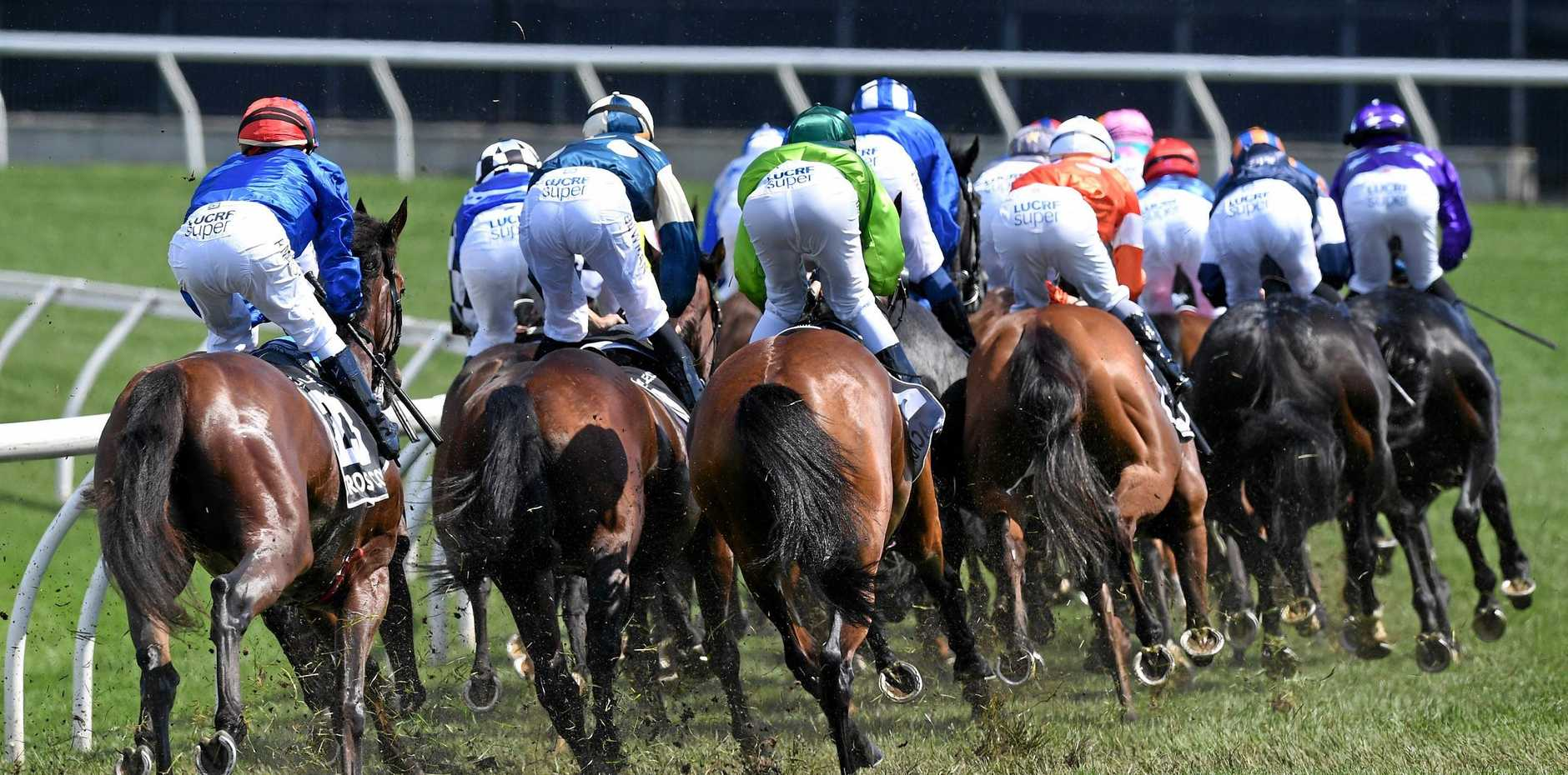 THE BIG RACE: The field rounds the turn on the first lap during the Lexus Melbourne Cup.