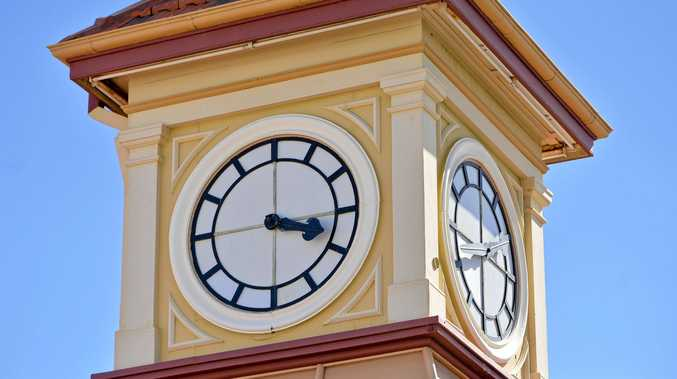 STUCK IN TIME: The Old Gladstone Post Office on Goondoon Street has struck a bit of bad luck will all of its clock faces reading different times.
