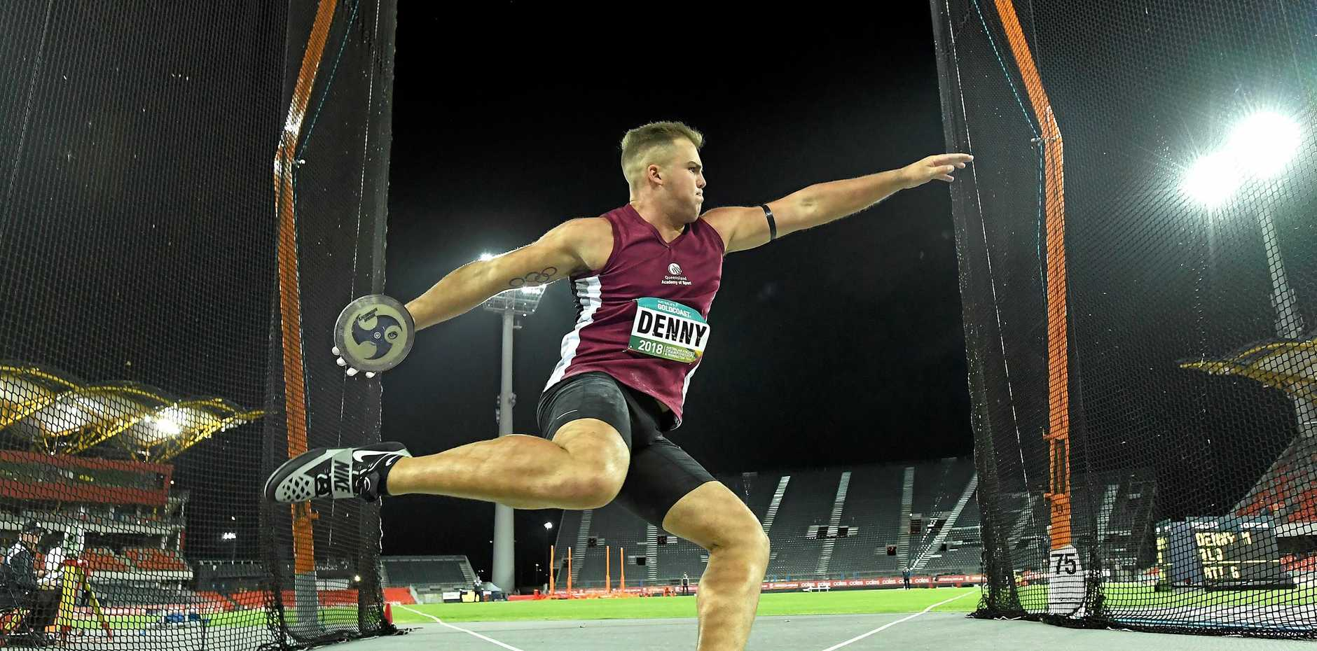 Gold medalist Matthew Denny of Queensland is seen during the Mens Discus final the Australian Athletics Championships competition at Carrara Stadium on the Gold Coast, Friday, February 16, 2018. (AAP Image/Dave Hunt) NO ARCHIVING, EDITORIAL USE ONLY