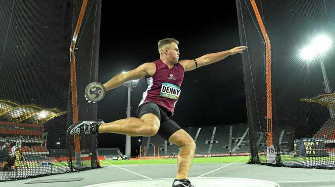 MEDAL WINNER: Commonwealth Games silver medallist Matthew Denny in a competition at Carrara Stadium this year