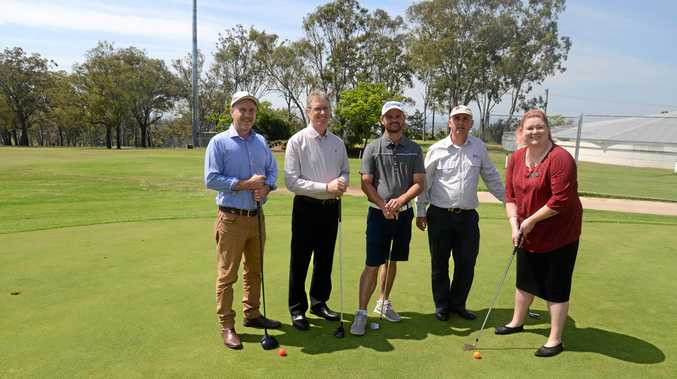 READY FOR PLAY: NAB Warwick staff Paul Gordon and Mark Shadlow, Warwick golf professional Sam Eaves and NAB staff Paul Swift and Jordan Schwarz in the run-up to Sunday's charity day at the Warwick Golf Club.
