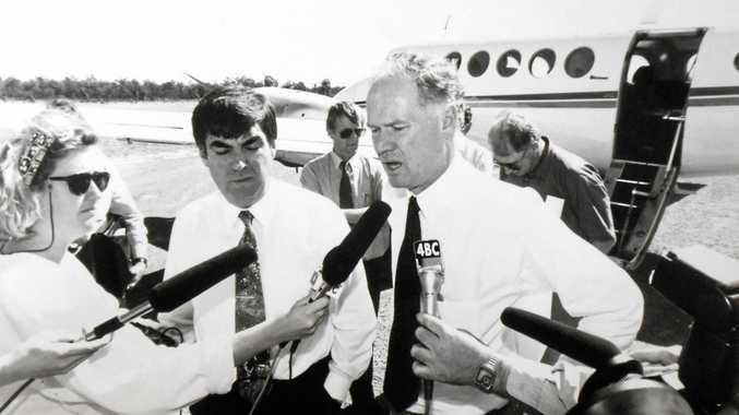 BLACK DAYS:  Queensland's Premier at the time,   Wayne Goss, and Mines and Energy Minister   Tony McGrady face the press in Moura after the mine explosion.