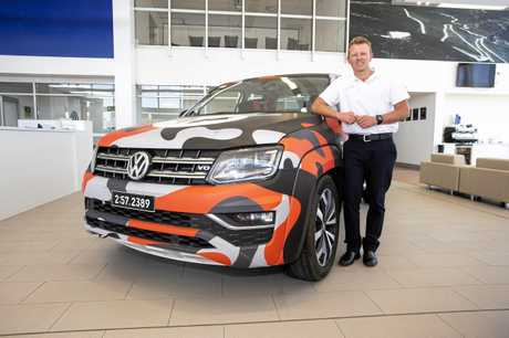 THRILL: Trent Livingstone  with the racing VW Amarok V6 set to offer rides at Noosa Hill Climb.