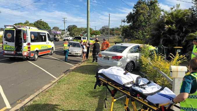 CRASH: A woman crashed her car into a fence on Barolin St.