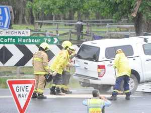 UPDATE: Motorcyclist, car collide, closing highway