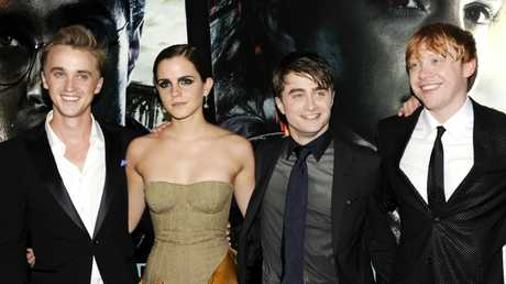 Tom Felton, Emma Watson, Daniel Radcliffe and Rupert Grint pose together at the premiere of Harry Potter and the Deathly Hallows: Part 2. Picture: AP Photo/Evan Agostini